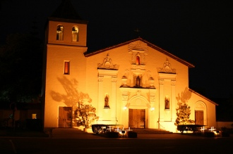 the santa clara mission at night